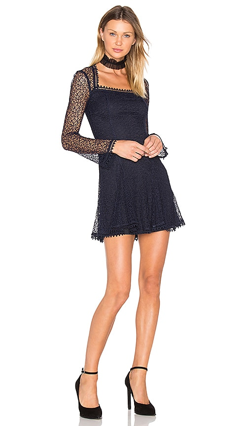 NICHOLAS Web Lace Square Neck Dress in Navy