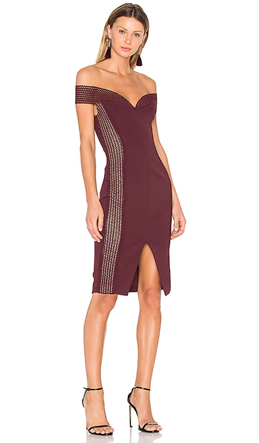 NICHOLAS Bandage Cold Shoulder Dress in Burgundy