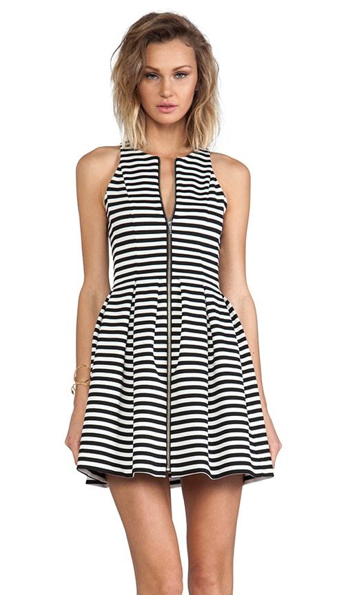 Stripe Zip Pleat Dress