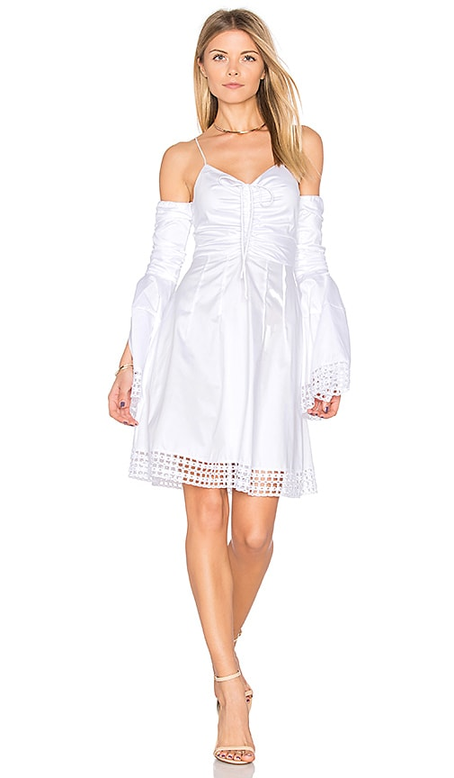 n / nicholas Gathered Bell Sleeve Dress in White