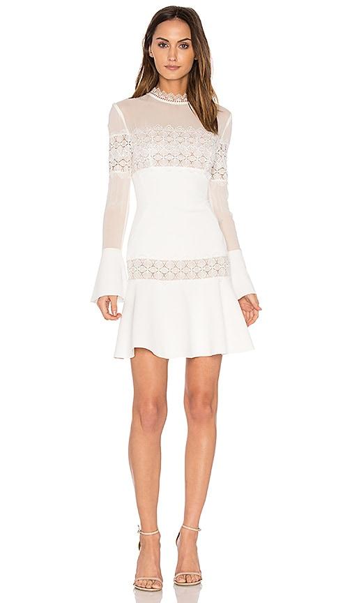 NICHOLAS Crepe Flare Mini Dress in White