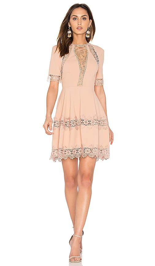 NICHOLAS Crepe Lace Up Back Dress in Blush