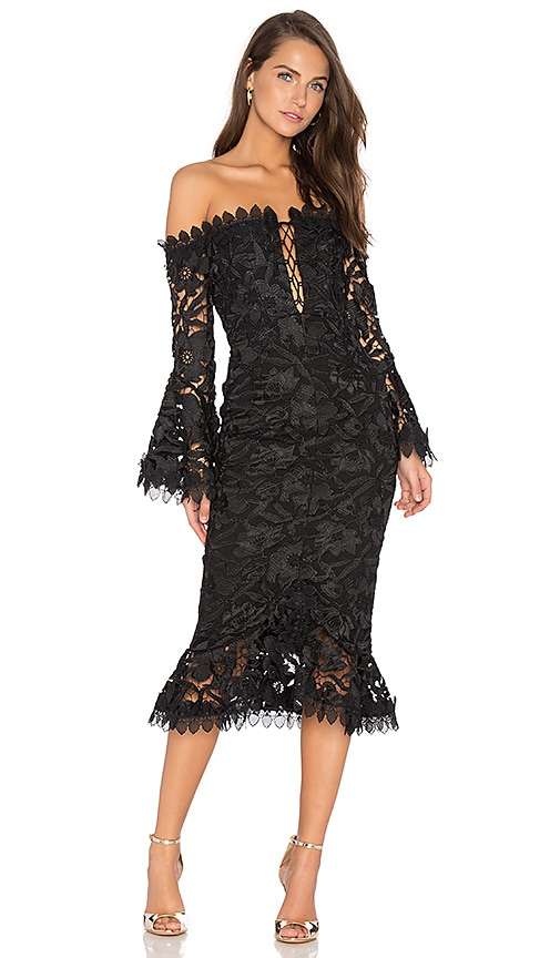 NICHOLAS Botanical Lace Dress in Black