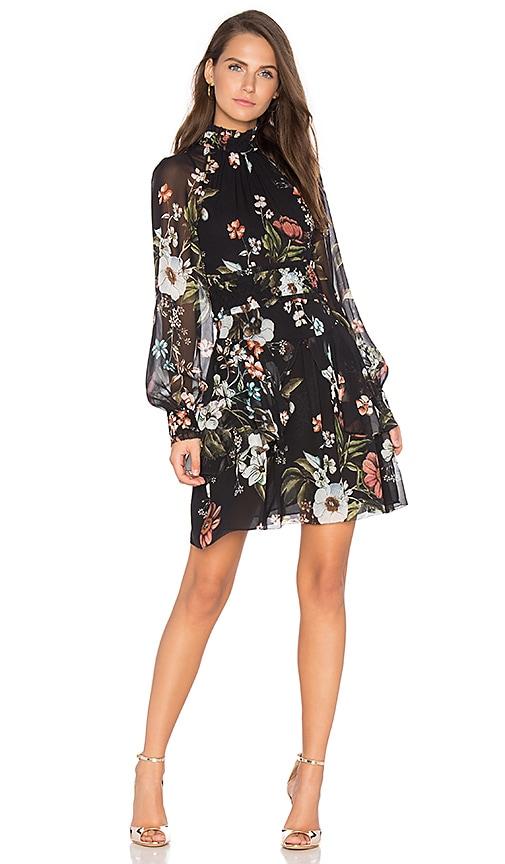 NICHOLAS Vintage Floral Mini Dress in Black