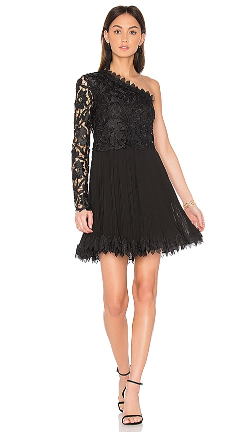 NICHOLAS Botanical Lace One Shoulder Dress in Black