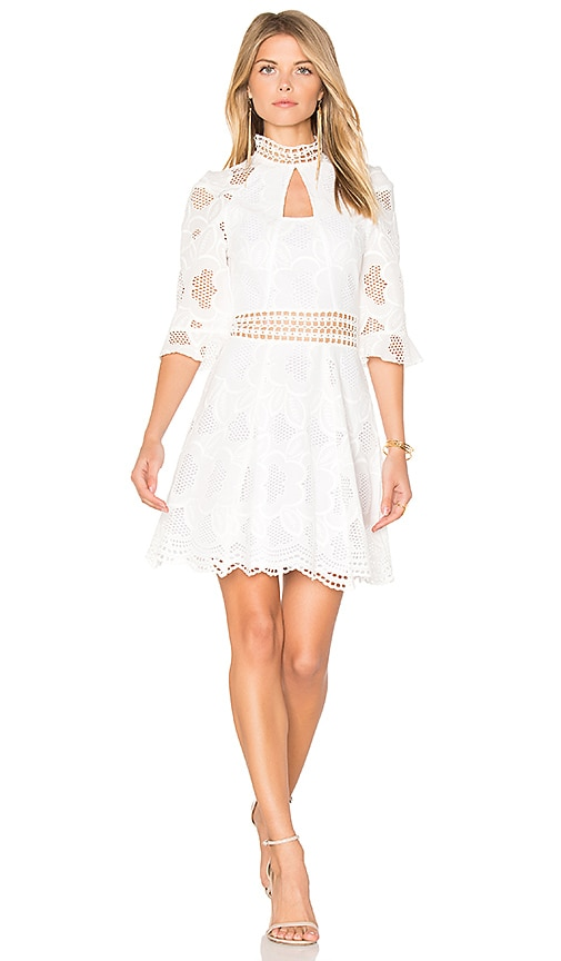 n / nicholas Pollen Lace Panel Dress in White