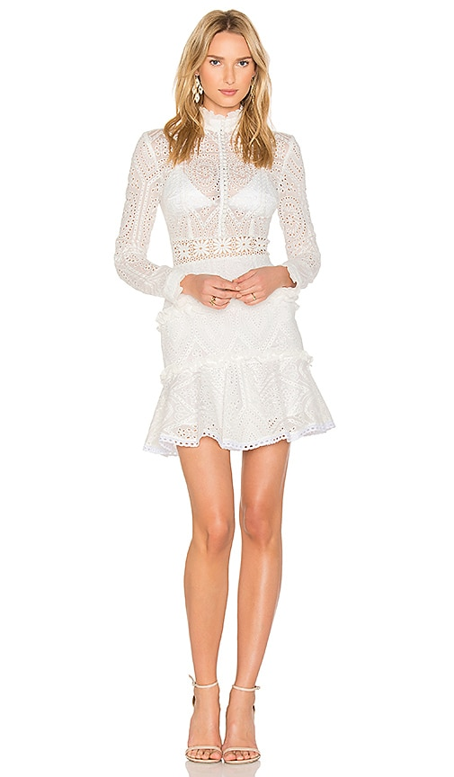 NICHOLAS Vintage Organdy Mini Dress in White