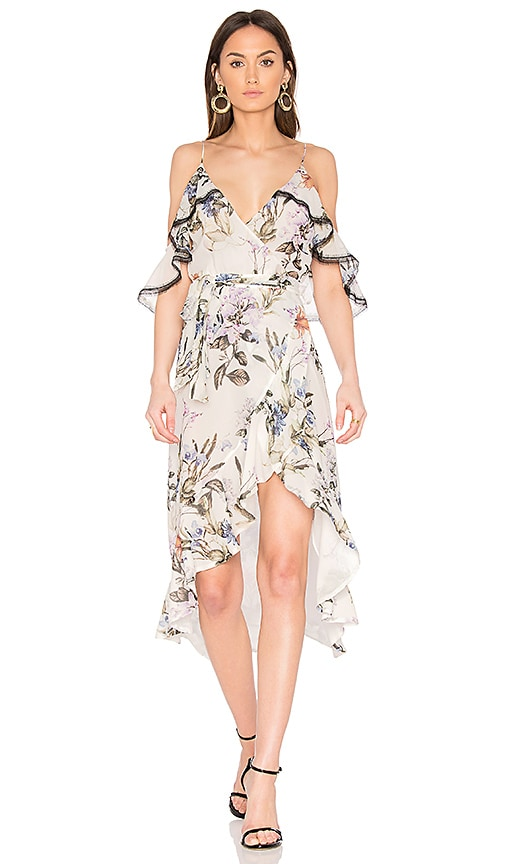 NICHOLAS Iris Floral Wrap Dress in White