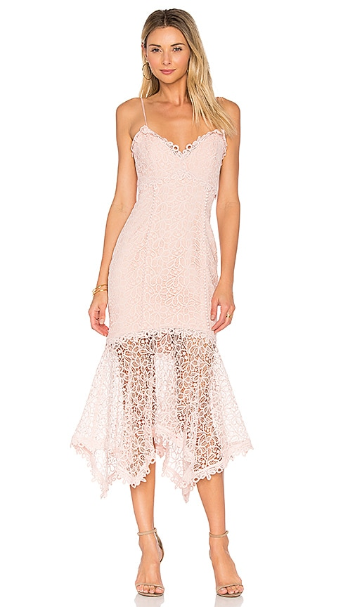 NICHOLAS Guipure Lace Dress in Pink