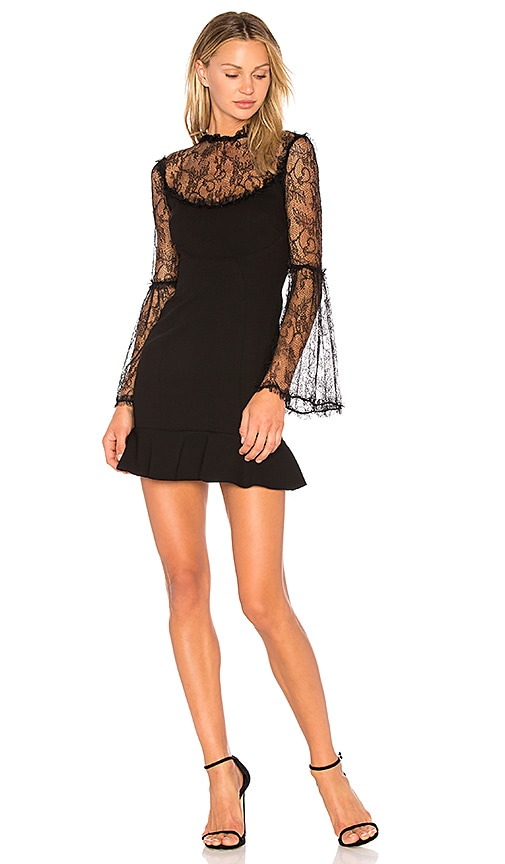 NICHOLAS Lace Flounce Dress in Black