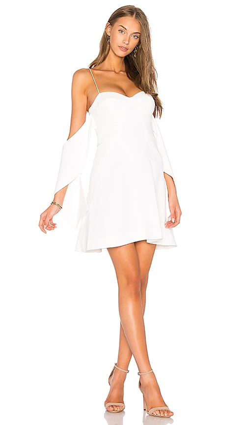 n / nicholas Flounce Mini Dress in White