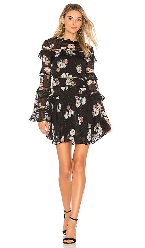 NICHOLAS Rose Ruffle Dress in Black