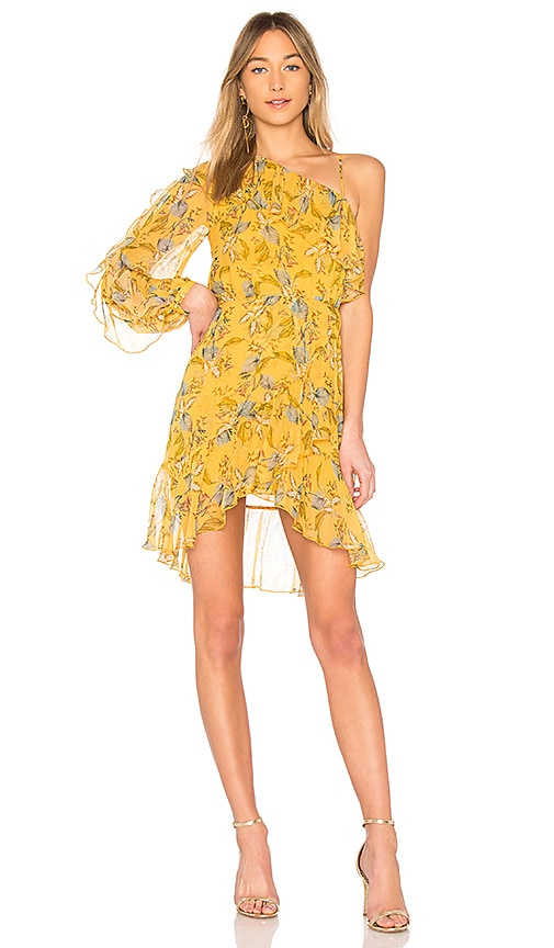 NICHOLAS Ava Floral One Shoulder Frill Dress in Yellow