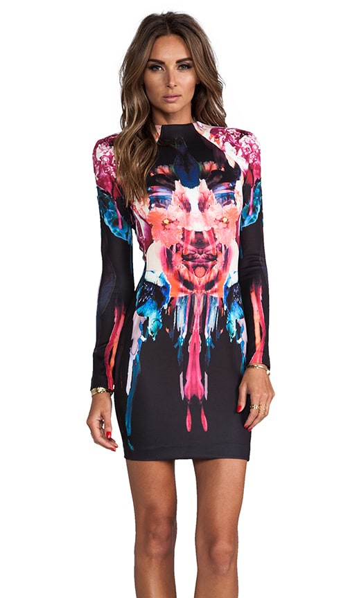 Melted Floral Scuba Long Sleeve Dress