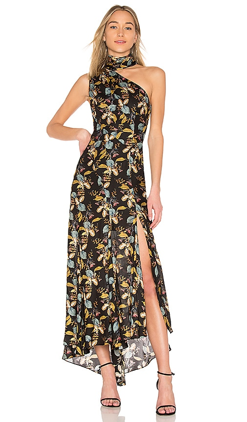 NICHOLAS Ava Floral Tie Neck Maxi Dress in Black