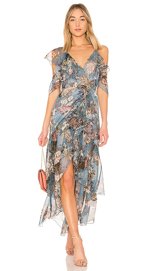 NICHOLAS Arielle Floral Wrap Maxi Dress in Blue