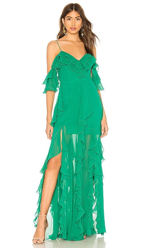 NICHOLAS x REVOLVE Georgette Cascade Maxi Dress in Green