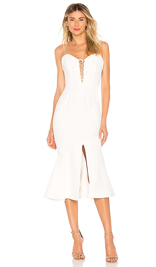 NICHOLAS Crepe Flip Hem Dress in White