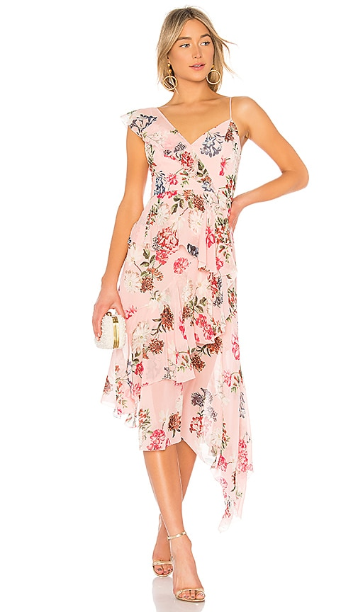NICHOLAS Floral Frill Dress in Pink