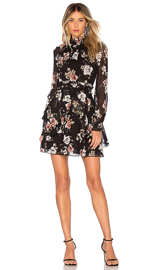 Black Rose High Neck Mini Dress