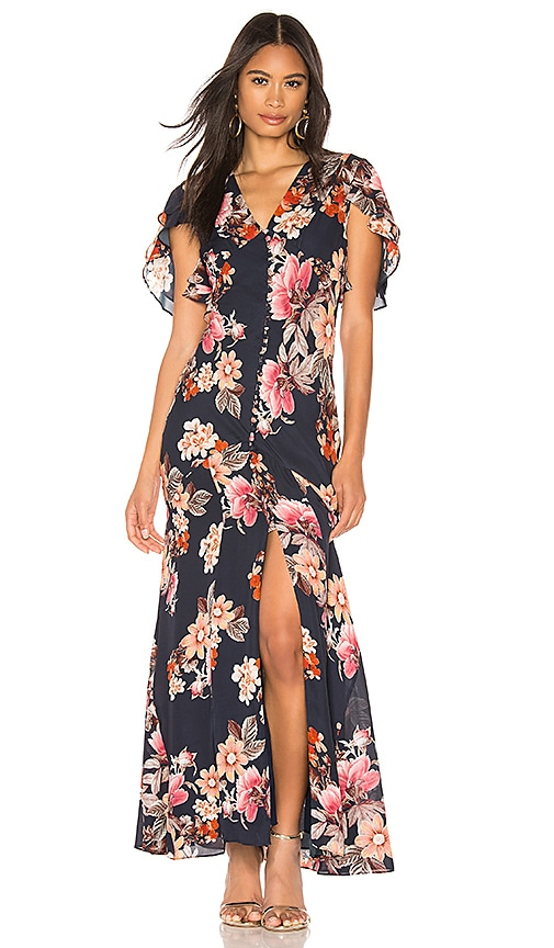 13462df8702 NICHOLAS Rust Floral Layered Pintuck Dress in Navy