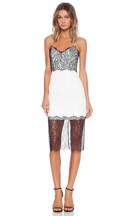 NICHOLAS Lace Trim Dress in White | REVOLVE