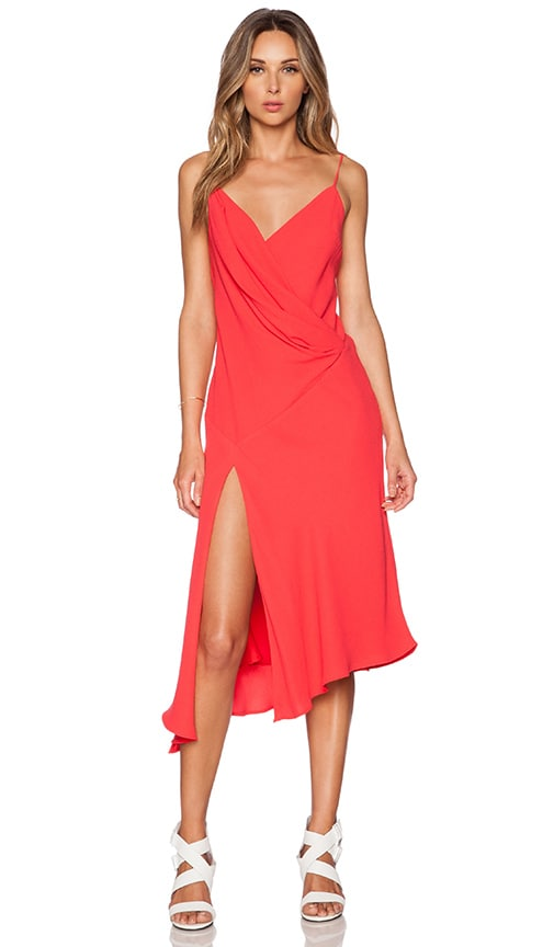 NICHOLAS Bias Wrap Drape Dress in Poppy