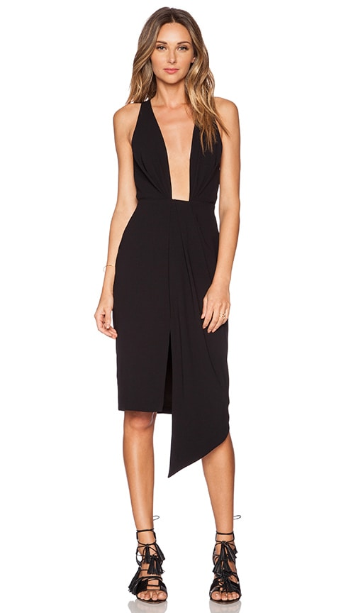 NICHOLAS Deep V Gathered Dress in Black