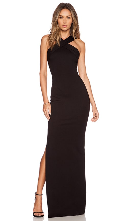 Nicholas Ponte Cross Front Gown In Black Revolve