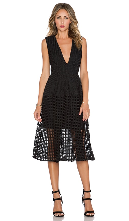 NICHOLAS Grid Lace Deep V Ball Dress in Black