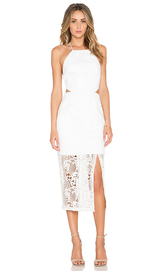 NICHOLAS Fleur Lace Criss Cross Back Dress in White