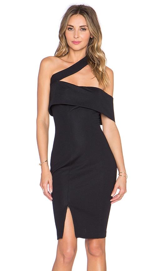 NICHOLAS Textured Ponti Off Shoulder Dress in Black