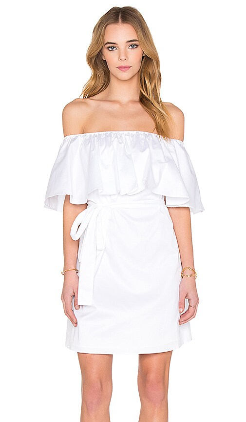 NICHOLAS Off Shoulder Mini Dress in White