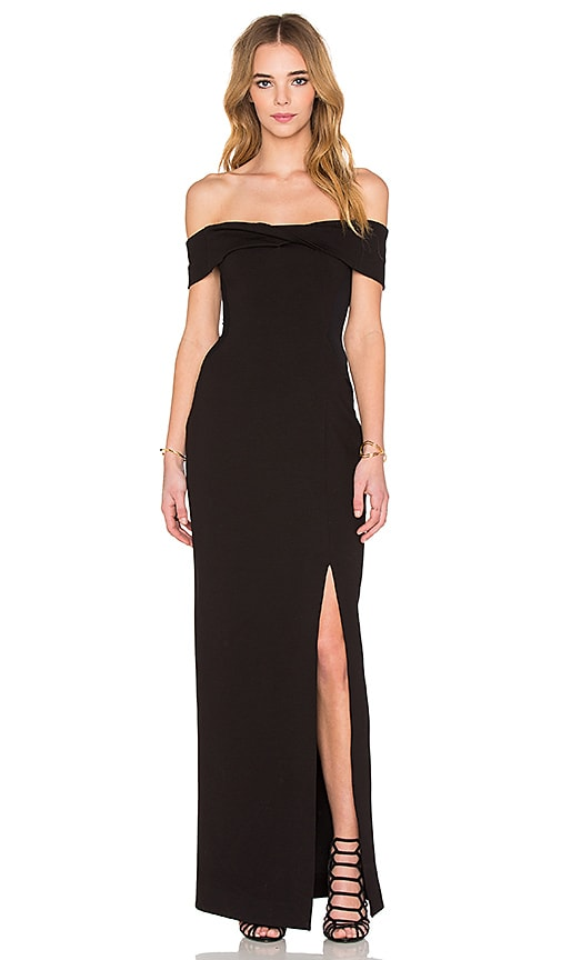 Nicholas Ponti Knot Front Off Shoulder Gown In Black Revolve