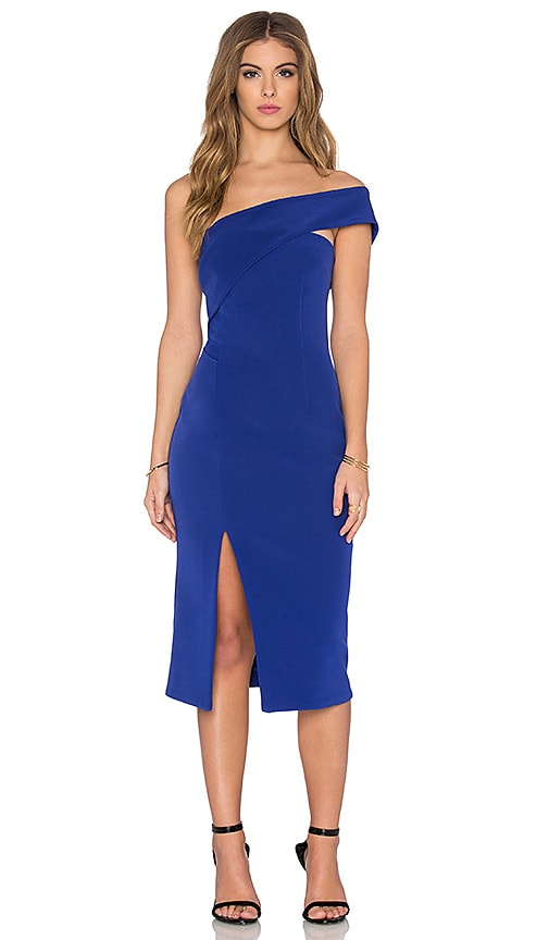 NICHOLAS Technical Bonded One Shoulder Dress in Blue