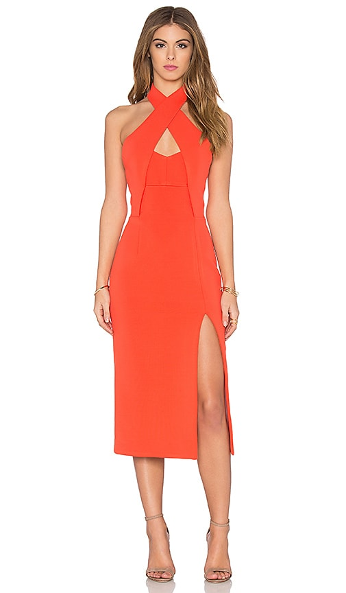 NICHOLAS Bandage Bustier Insert Dress in Tangerine
