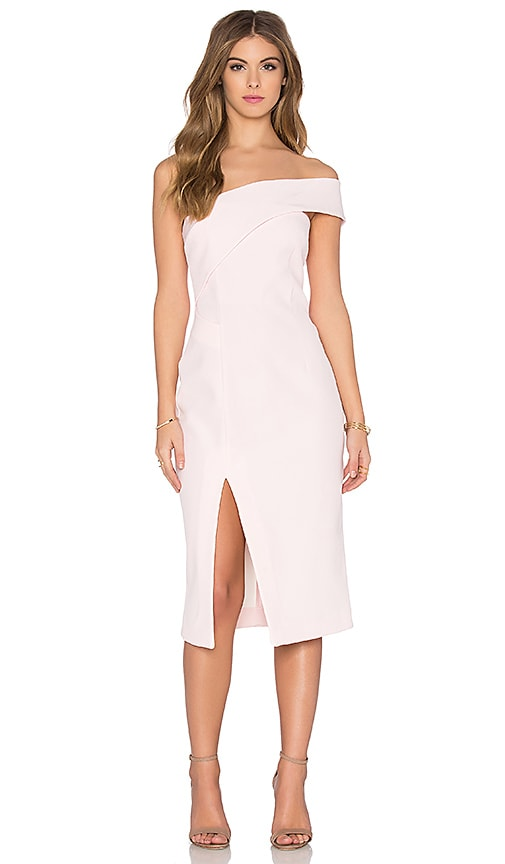 NICHOLAS Technical Bonded One Shoulder Dress in Pink