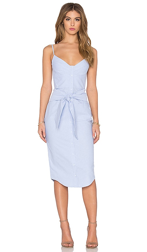 NICHOLAS Cotton Oxford Bra Dress in Light Blue