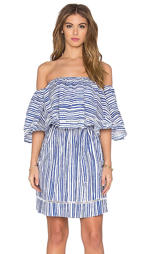 NICHOLAS Frill Mini Dress in Washed Stripe