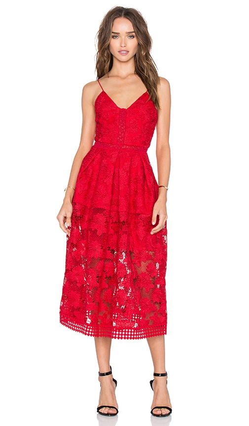 NICHOLAS Floral Lace Rouleau Ball Dress in Red