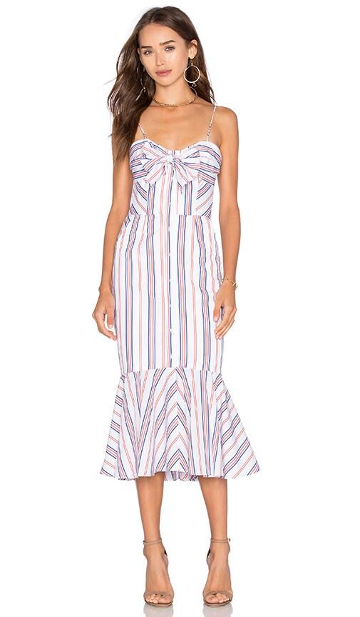 NICHOLAS Stripe Tie Up Dress in Red Stripe