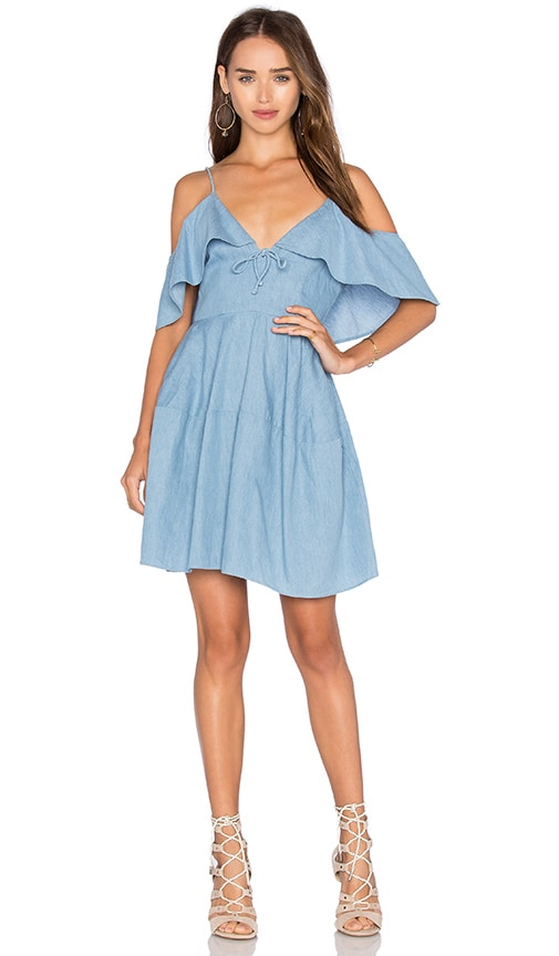 n / nicholas Chambray Deep V Off Shoulder Dress in Blue