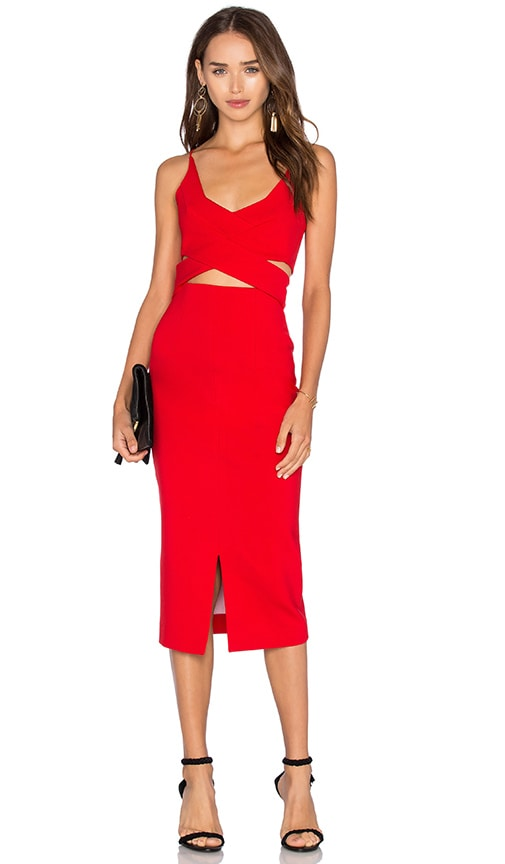 n / nicholas Ponti Angled Wrap Dress in Red