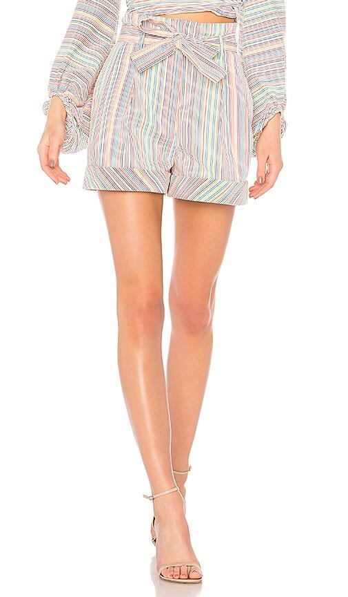 Rainbow Stripe Belted Short