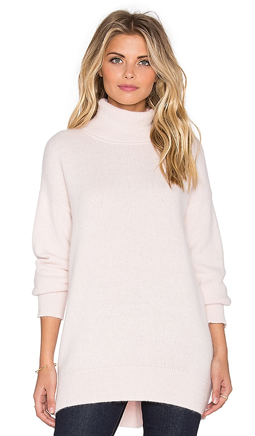 NICHOLAS Angora Oversized Turtleneck Sweater in Blush