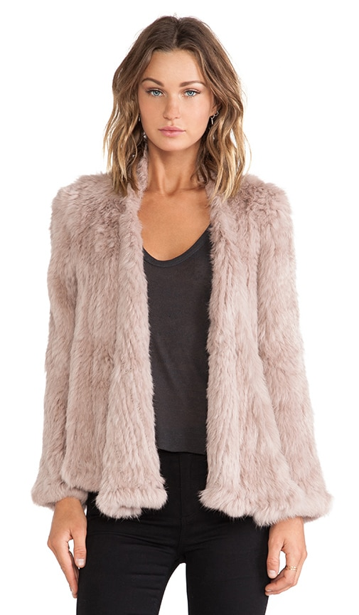 NICHOLAS Knitted Rabbit Fur Jacket in Taupe REVOLVE