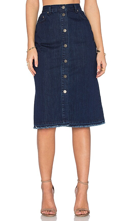 2ad9aa6c74 NICHOLAS Denim Button Up Skirt in Mid Blue