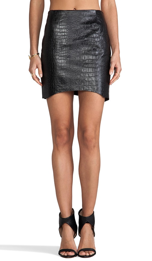 Croc Leather Curved Hem Skirt