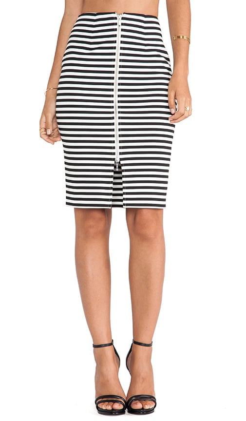 Stripe Ponti Pencil Skirt