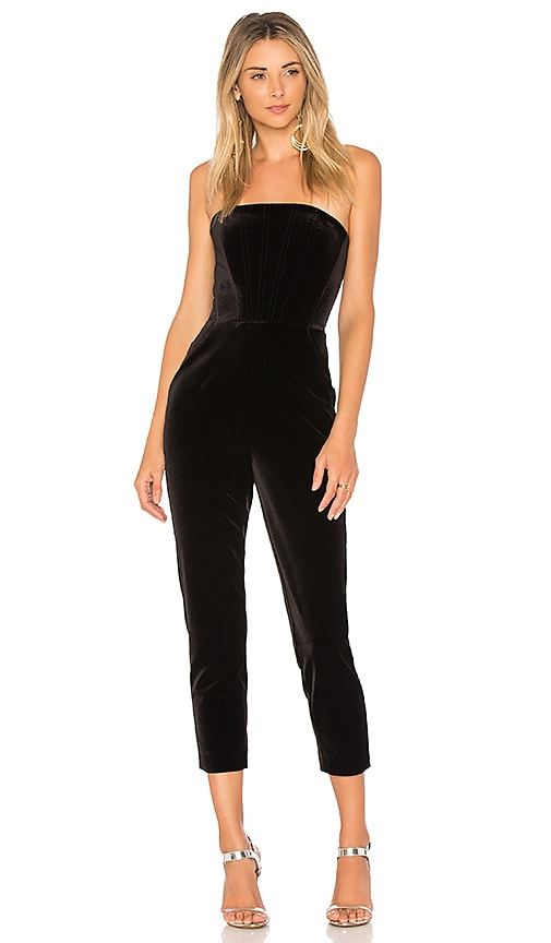 NICHOLAS Velvet Strapless Jumpsuit in Black | REVOLVE